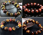 8MM 10MM 12MM Natural Tiger Eye Stone Gemstone Beads Men Jewelry Bracelet Bangle
