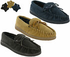 Moccasin Slippers Genuine Leather Flat Slip On Suede Outdoor Mens UK6-12