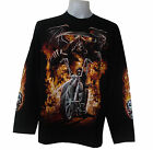 HELL GHOST FIRE TATTOO ROSE SKULL CROSS  GRIM BIKER CHOPPER L/S T-SHIRT