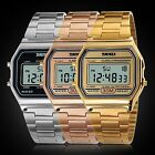 Vintage Retro Gold Stainless Steel Digital Casual Watch Alarm Stopwatch Men Lady