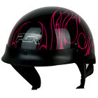 PGR B08 CONVICT GLOSS Black Pink Flame Flames Motorcycle DOT Half Helmet Chopper