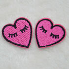 2x lip gloss Heart Embroidery Iron on patche sewn applique Embroidered DIY Motif
