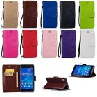 Wallet Flip Card Holder PU Leather Case Cover Stand For Sony Dandelion Print