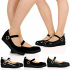NEW WOMENS LADIES ANKLE STRAP FLAT CASUAL SMART WORK PUMP COURT SHOES SIZE 3-8