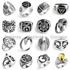 Various Style Fashion Mens Punk Stainless Steel Silver Band Finger Ring Jewelry