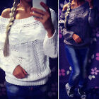 Fashion New Off Shoulder Long Sleeve Knitted Tops Sweater Jumper Blouse Knitwear