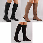 Womens Ladies Knee High Flat Long Riding Round Toe Boots Autumn Winter Shoe Size