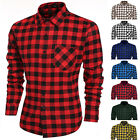 Hot  Fashion Men's Casual Leisure Grid Long Sleeve Lapel plain Shirts tops