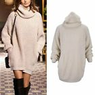 New Womens Autumn&Winter Sweater High Collar Knit Sweater Dress Loose Pullovers