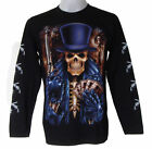 POKER GRIM BIKER CHOPPER PRISON MENS L/S T-SHIRT