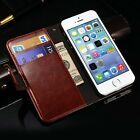 Fashion Real Leather Wallet Card Holder Flip Case Cover for iPhone SE 6 6s Plus