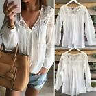 Women White Long Sleeve Floral Crochet Lace Party Tops Shirt Tee Chiffon Blouse