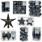 Black Collection Christmas Decorations Baubles Stars Cones Hearts Tree Topper