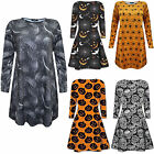 New Ladies Womens Printed Long Sleeves Halloween Swing Dress plus Sizes