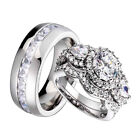 His Hers Wedding Ring Set Sterling Silver 3 Stone Cubic Zirconia Halo Titanium