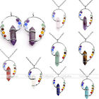 1Pc Gemstone Crystal Hexagon Prism 7 Chakra Beads Copper Alloy Wire Wrap Pendant