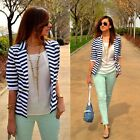 Fashion Womens Navy Blue and White Stripe Long Sleeve Button Decor Coat Tops