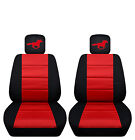 Two Tone Front Seat Covers with a Horse for 2013 to 2014 Ford Mustang
