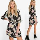Women V-neck Long Sleeve Chiffon Floral Tops Loose Blouse T-shirt Mini Dress New