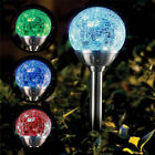 New 4X Solar Powered Colour Changing Glass Crystal Ball Garden Path Stake Lights