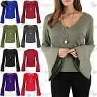 Women Ladies Plain V Neck Long Bell Sleeve Necklace Front Pleated Peplum T Shirt
