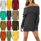 Womens Ladies Off Shoulder Cable Ribbed Knit Oversized Bardot Sweater Jumper Top