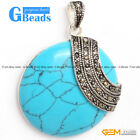 36mm Coin Beads Tibetan Silver Marcasite Pendant +Necklace Chain Free Shipping