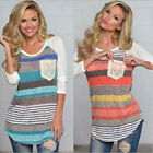 Fashion Womens Ladies Pocket Striped Loose Tops Long Sleeve Cotton Shirt Blouses