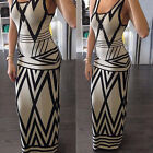 Woman's Sexy Boho Sleeveless Bodysuit Cocktail Maxi Evening Party Beach Dress