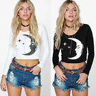 Autumn Season Woman Long Sleeve Round Neck Moon Printed New Short T-Shirt UR