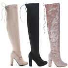 Hilltop20m Pull-On OTK Over The Knee Block High Heel Dress Boots w Laced Back