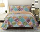 Over Sized Dahlia Reversible Coverlet Luxury Microfiber Printed Quilt Bedspread image
