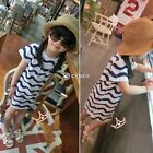 Fashion Baby Kid Children Girls V-Neck Short Sleeve Wavy Pattern Dress 3-9Y DZ88
