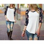 Fashion Women's Long Sleeve Shirt Casual Lace Blouse Cotton Loose Splice T-Shirt