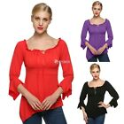 Sexy Women Off Shoulder Flare Sleeve Slim Irregular Hem Casual Tops Blouse DZ88