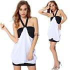 Women Halter V Neck Dress Sexy Backless Package Hip Chiffon Mini Dress TXWD