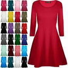 Ladies Womens Long Sleeve Plain Flared Franki Party Swing Skater Mini Dress