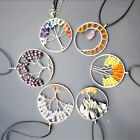 Fashion Mixed Tree of life-Agate Crystal wire wrapped Pendant 1Pc With Chain 17""