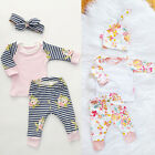 0-2Y 3pcs Newborn Baby Girl Striped Tops Cotton T-shirt+Leggings Hat Outfit Set