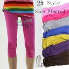 AU SELLER Adults Teens Girls Cotton Side Pleated Short Leggings Dress pants p059