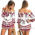 Lady Floral Flower Printing Off-shoulder Jumpsuit Playsuit Summer Beach Clothing