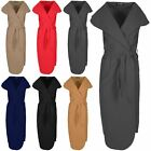 New Womens Belted Turn Up Ladies Sleeveless Waterfall Knit Cape Trench Cardigan