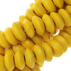 Smooth Painted Maple Wood Beads, Rondelle 7.5-8mm, 16 Inch Strand, Yellow