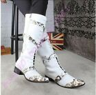 Hot Mens Punk Warm Strappy Buckle Knee High Boots Floral Pointy Toe Dance Cowboy