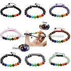 Womens Mens Adjustable 7 Chakra Gemstone 8mm/10mm Beads Braided Bracelet Gift