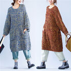 Casual Plus Size Crew Neck Womens Straight Long Bottoming Sweaters Dress Pocket