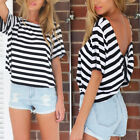 Hot Women Short Sleeve Stripe T-Shirt Girl Summer Casual Backless Tops Blouse