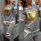 Womens Casual  Sports Sweatshirt Pants Track Sweat Suits Tracksuit