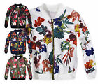 Girls Floral Print Bomber Jacket New Kids Scuba Lightweight Coat Ages 3-12 Years