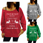 New Womens Merry Christmas Winter Sweatshirt Jumper Sweater Pullover Top Gifts